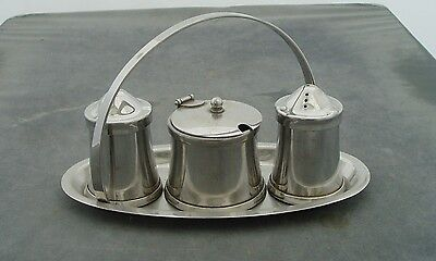 Old Hall Olde Hall Stainless Steel 3 Piece Condiment Set On Tray