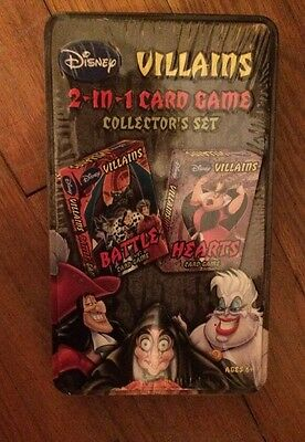 Disney Villains 2-In-1 Card Game Collector's Set In Collectible Tin - Sealed