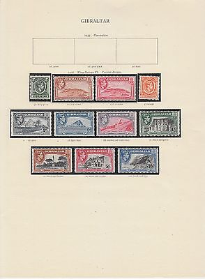 Gibraltar 1938 - 1951 to £1 on 3 pages with perfs MH or MNH
