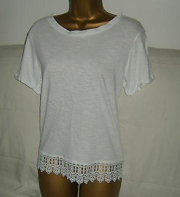 NEXT Lovely Plain WHITE Short Sleeve Lace Trim Everyday Top~Size 16