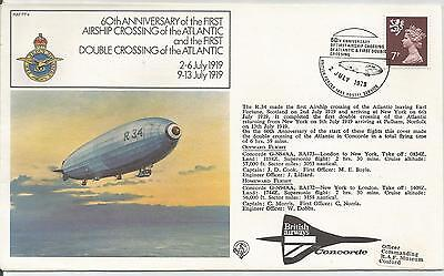 60th ANNIV OF FIRST AIRSHIP CROSSING THE ATLANTIC 1979 COVER  REF 141
