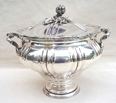 French Saglier Silverplate Covered Vegetable Serving Dish Louis XV Paris 1900