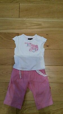 Girls 3-6 months outfit Tommy Hilfiger T shirt and Next trousers
