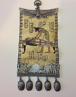 Egyptian Wall Hanging from Egypt - Glitter Gold Sphinx Pyramid Mummy Souvenir
