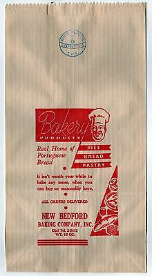 1940s NEW BEDFORD BAKING COMPANY Bread BAG Bakery PORTUGUESE Pastry PIES Mass