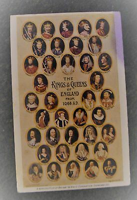 KIngs and Queens of England rare postcard