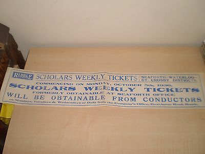 1936 Ribble Buses Scholars Weekly Tickets Bootle Liverpool Depot Poster/Notice