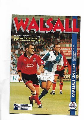 Walsall  v  Carlisle United, 30 September 1995