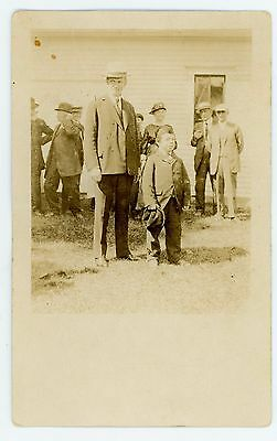 Real Photo Postcard of Calvin Coolidge and a Midget by Geo. Chalmers, Rutland Vt
