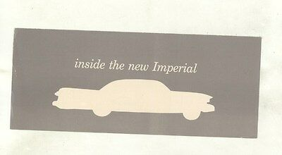 1957 Chrysler Imperial Leather Upholstery Small Brochure ww5122