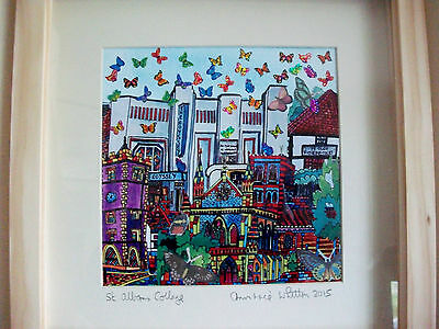 Original Handmade Paper Collage Picture Of Butterflies Over St Albans Shadow Box