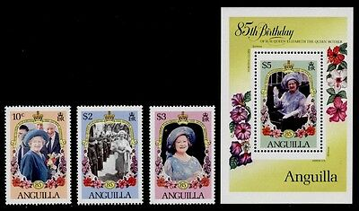 Anguilla 619-22 MNH Queen Mother 85th Birthday, Flowers