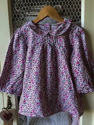 Jo Jo Maman  Pink Ditsy Floral liberty print cotton spring blouse age 4-5 Easter