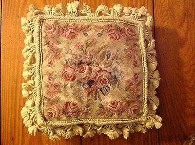 "Vintage Pink Floral Wool Needlepoint Pillow 12"" Square"