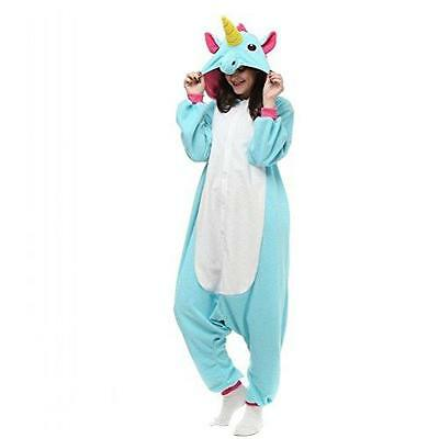 Adult Unisex Blue Unicorn Animal Kigurumi Pajamas Cosplay Birthday Party Wear