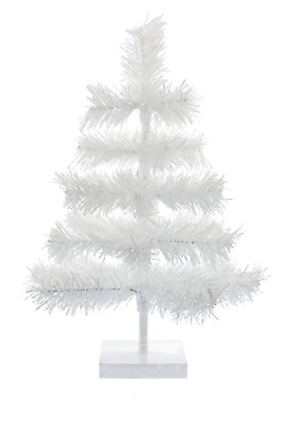 18'' White Christmas Feather Tinsel Tree Tabletop Holiday Tree in White