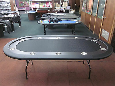 New 8 Foot Pro Poker Table With Speed Felt [Black] + Stainless Steel Jumbo Cup