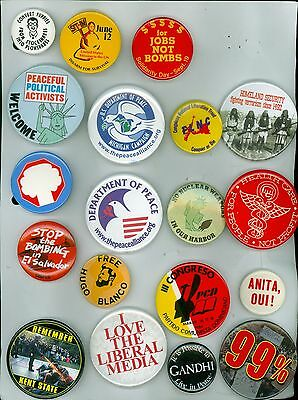 19 Vintage 1970s 2000s Peace & Anti-War Pinback Buttons - Remember Kent State