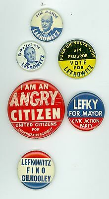 6 Vintage 1961 New York Mayor Louis Lefkowitz Political Pinback Buttons