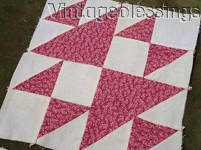 10 Rich Double Pink ANTIQUE QUILT Blocks Hens & Chicks Handpieced