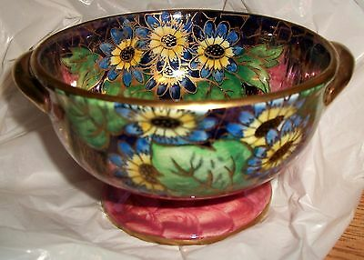 Fine Maling Art Deco Pink Daisy Lustre Ware Gilt Handled Bowl C.1925