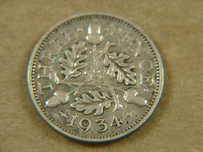 1934 Great Britain Threepence Silver Coin