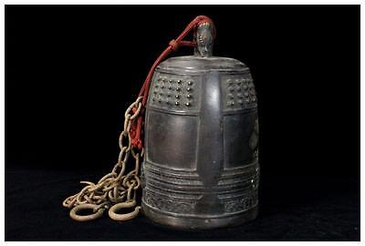 Japanese old Buddhist Bronze temple bell Vajra Bell esoteric Buddhism w/ chains
