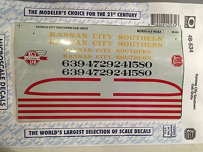 O Kansas City Southern Cab Units Model Train Decals Microscale #48-534 1/48 NEW!