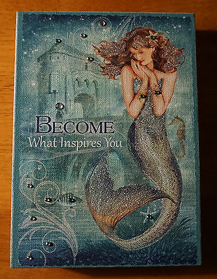 BECOME WHAT INSPIRES YOU Nautical Blue Mermaid Castle Beach Home Decor Sign NEW