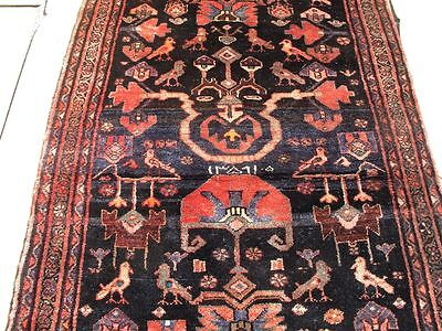 """3'8""""x10' Signed Date Handmade wool Antique Persian Mahal With Birds rug runn"""