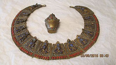 Antique Tibetan Buddha Coral & Brass Collar Necklace with Matching Snuff Bottle