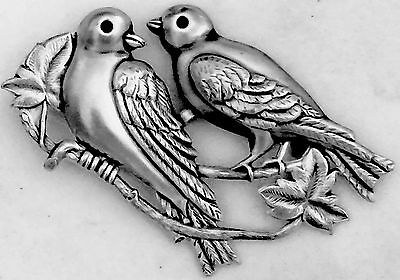 """EXTRA SUPER LARGE 2 3/4"""" INCH Stamped Brass Vintage Style """"LOVE BIRDS"""" Button"""