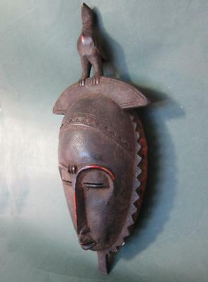 FINE ANTIQUE YORUBA AFRICAN CARVED WOOD TRIBAL MASK with BIRD c