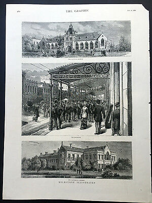 1880 The Graphic Original Antique Print Views of Streets & Building in Melbourne