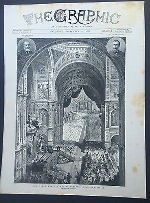 1888 The Graphic Original Antique Print Opening Ceremony of Melbourne Exhibition