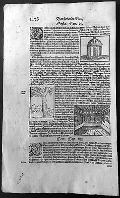 1628 Munster Antique Print of Temples of Syria & Turkey