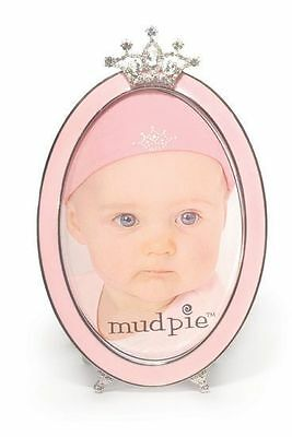 New Mud Pie Pink Silver Jewel Crown Oval Acrylic Photo Picture 4 x 6 Girl Frame