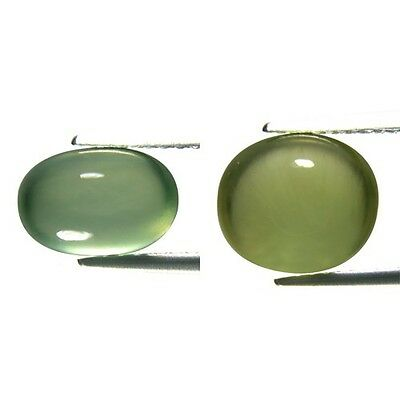6.38 Ct Oval Shape Green Color Natural Unheated Prehnite Cabochon  2Pcs *GF03