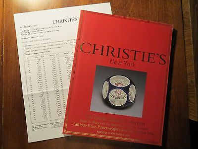 2001 CHRISTIE'S AUCTION  Doheny Collectn - Paperweights - Dec Arts w/price sheet