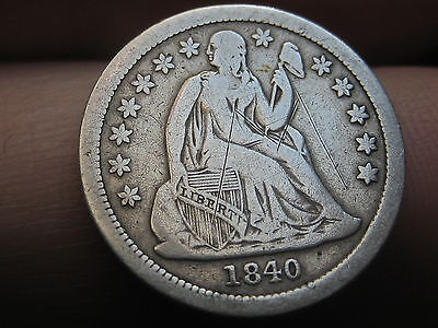 1840 Seated Liberty Dime WITH Drapery, Scarce Key Date!