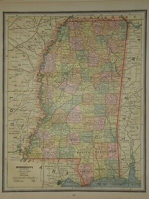Vintage 1883 Mississippi Map ~ Old Antique 1883 Atlas Map ~ Free S&h 83/011117