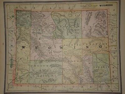 Vintage 1891 Wyoming Map  ~ Old Antique Atlas Map Free S&h 91/011117