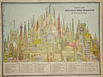 VINTAGE 1883 ILLUSTRATION ~ HIGH BUILDINGS of the WORLD ~ FREE S&H 83/011117