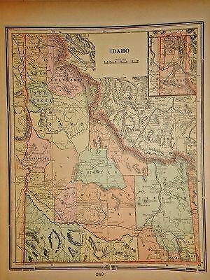 Vintage 1898 Idaho Map ~ Old Antique Atlas Map Free S&h 98/011117