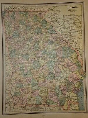 Vintage 1891 Georgia Map  ~ Old Antique Atlas Map Free S&h 91/011117