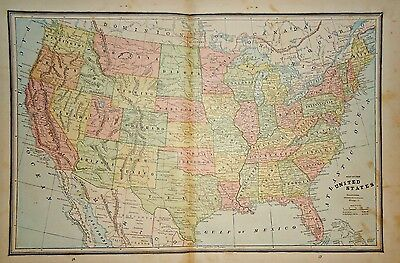Vintage 1883 United States Map ~ Old Antique Atlas Map Free S&h 83/011117
