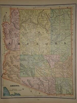 Vintage 1891 Arizona Territory Map  ~ Old Antique Atlas Map Free S&h 91/011117