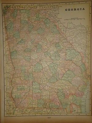 Vintage 1898 Georgia Map ~ Old Antique Atlas Map Free S&h 98/011117