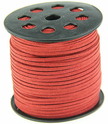 10ya 3mm red Suede Leather String Jewelry Making Thread Cords