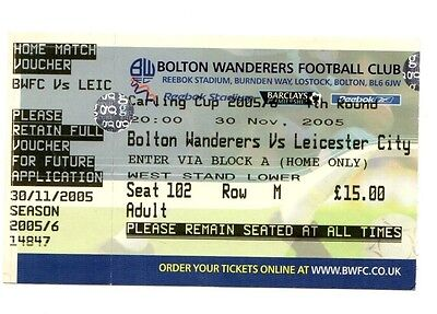 2005-2006 Ticket Bolton v Leicester City Carling Cup